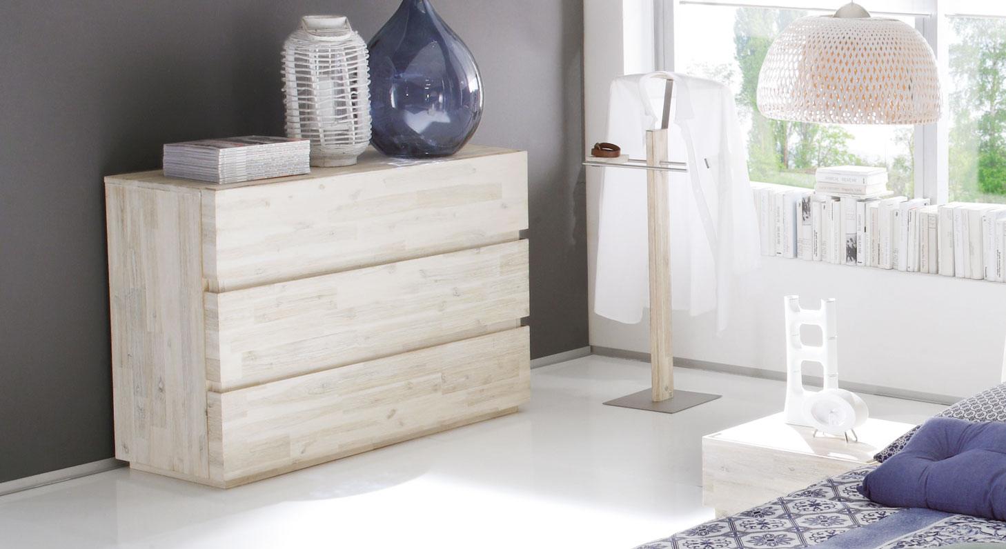 Schubladen Kommode Aus Akazienholz In Weiß Arezzo Bettende