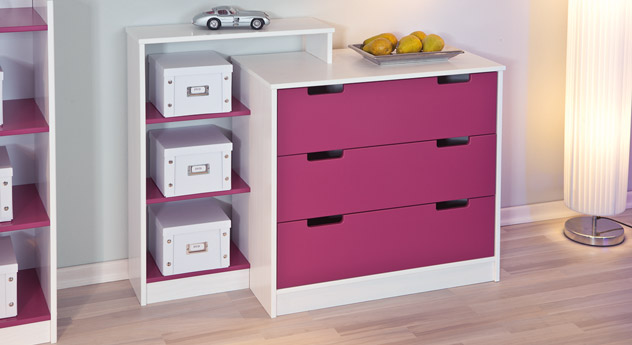kinderkommode oder kinderregal in violett und wei mina. Black Bedroom Furniture Sets. Home Design Ideas