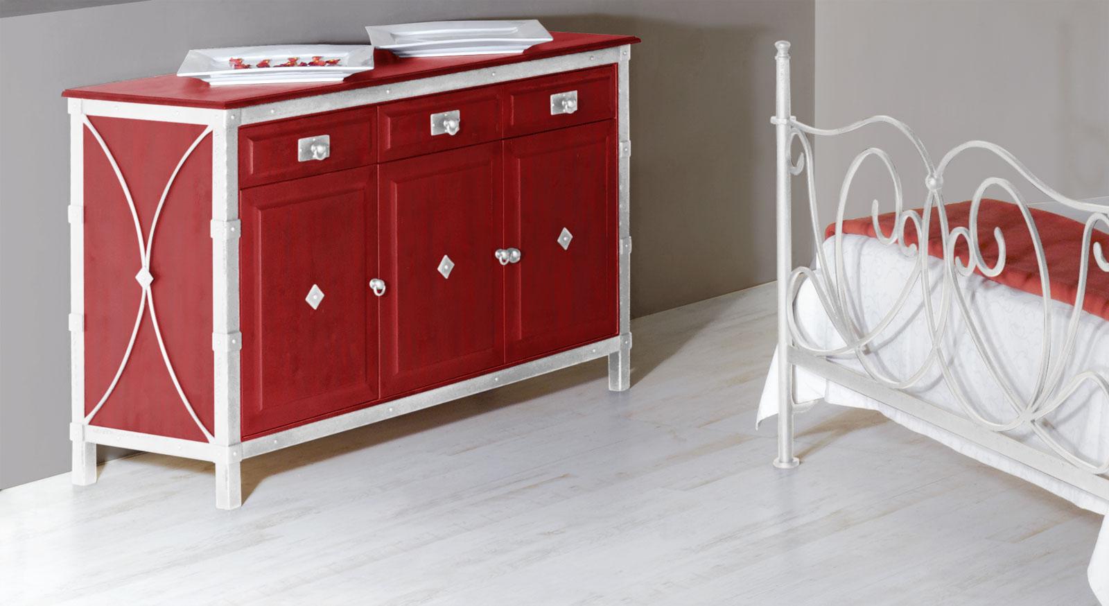 breite kommode aus massivholz und metall san pedro. Black Bedroom Furniture Sets. Home Design Ideas