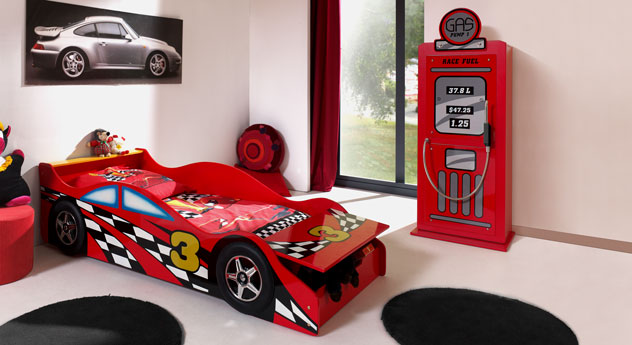 Komplett-Kinderzimmer Highway aus MDF, rot lackiert