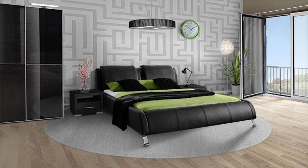 Komplett-Schlafzimmer mit Echtleder-Bett Coventry und Kleiderschrank Madison