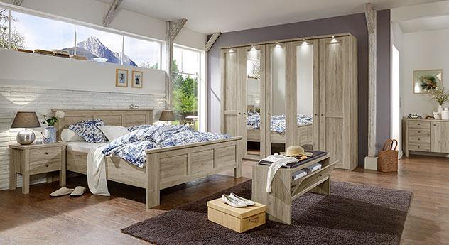 Komplett-Schlafzimmer Catio in Eiche-Dekor