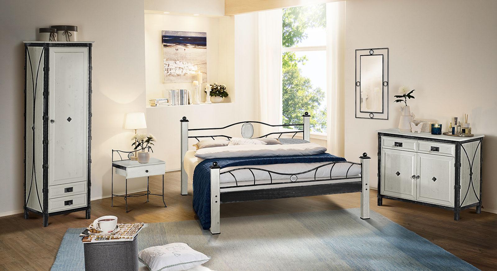 Komplett-Schlafzimmer Lavia aus Eiche und Metall