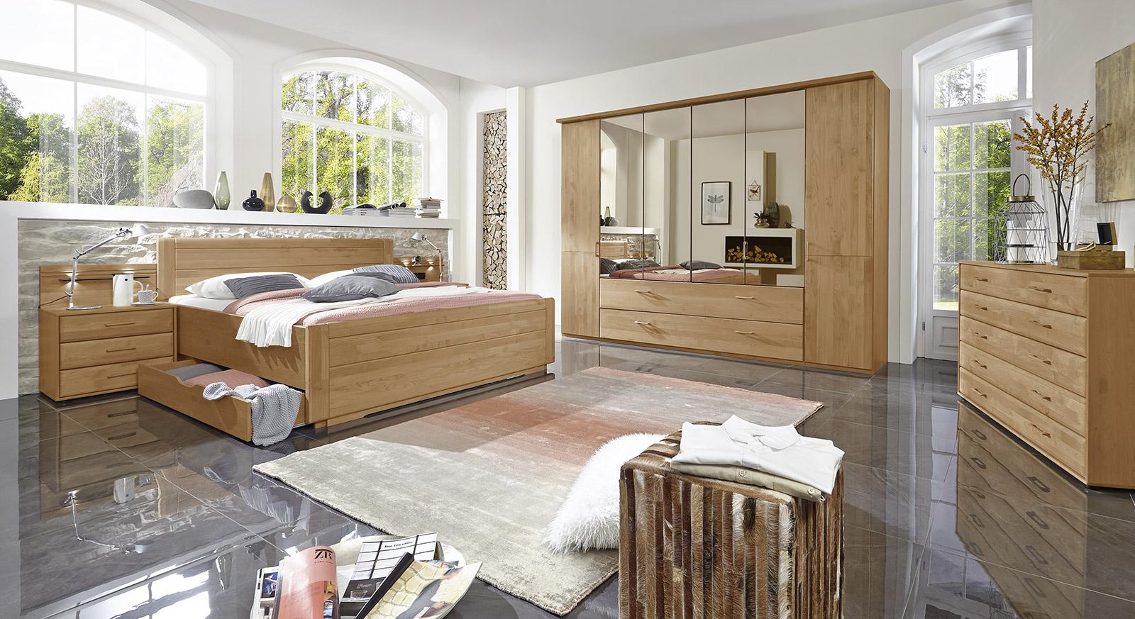 doppelbett mit schubladen in erle teilmassiv narita. Black Bedroom Furniture Sets. Home Design Ideas