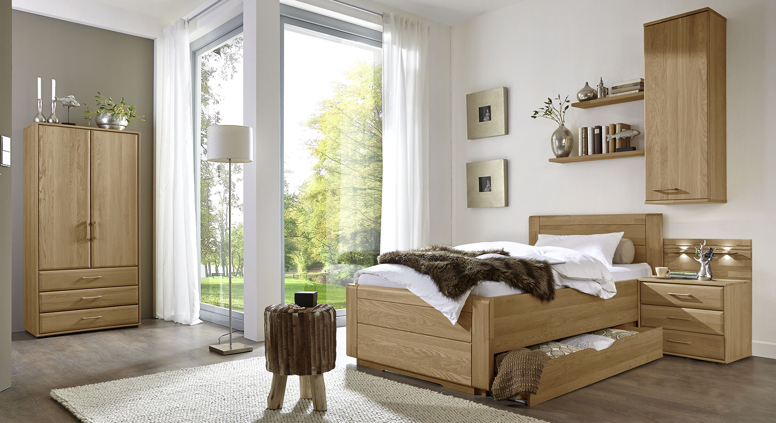 einzelbett landhausstil mit schubladen eiche teilmassiv raida. Black Bedroom Furniture Sets. Home Design Ideas