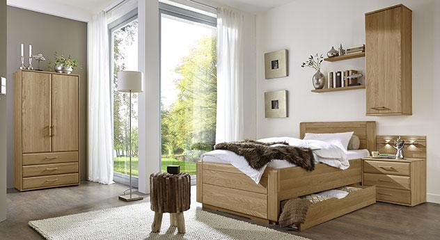 Einzelbett Landhausstil mit Schubladen Eiche teilmassiv - Raida