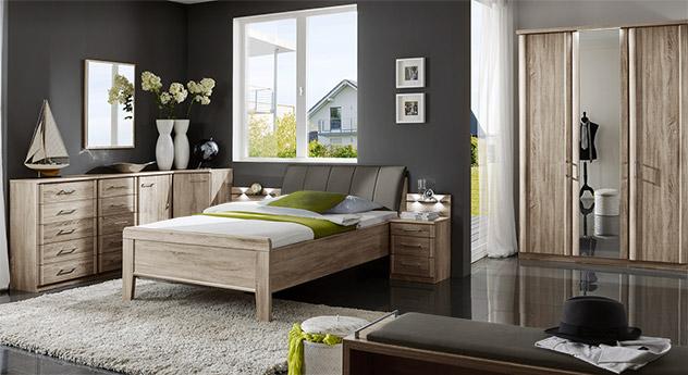 Komplett Schlafzimmer Runcorn auf Eiche Dekor mit passenden Produkten