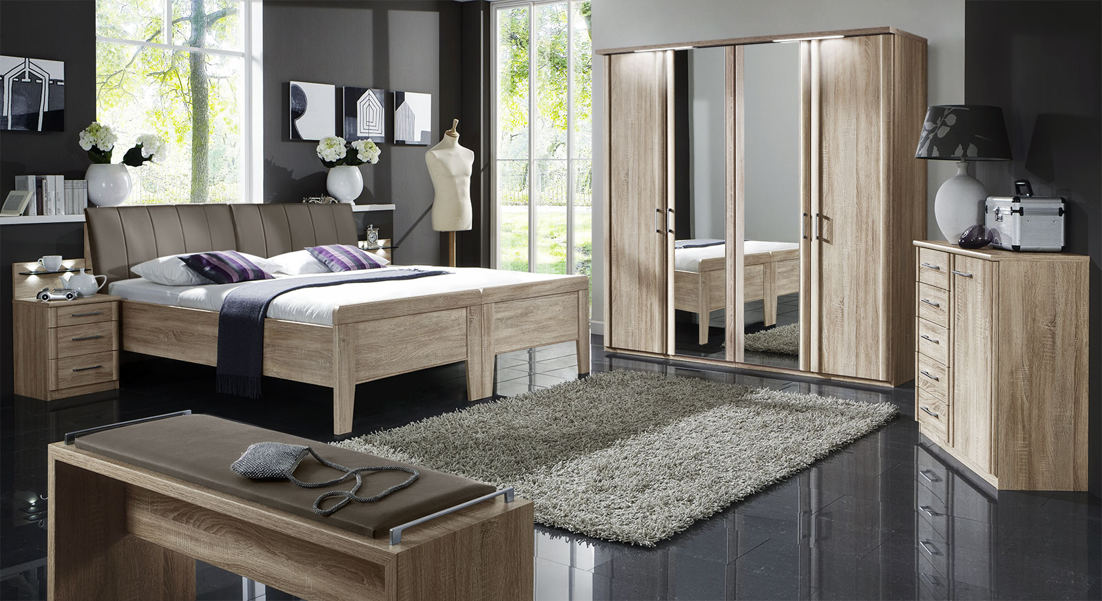 komplett schlafzimmer runcorn in eiche s gerau. Black Bedroom Furniture Sets. Home Design Ideas