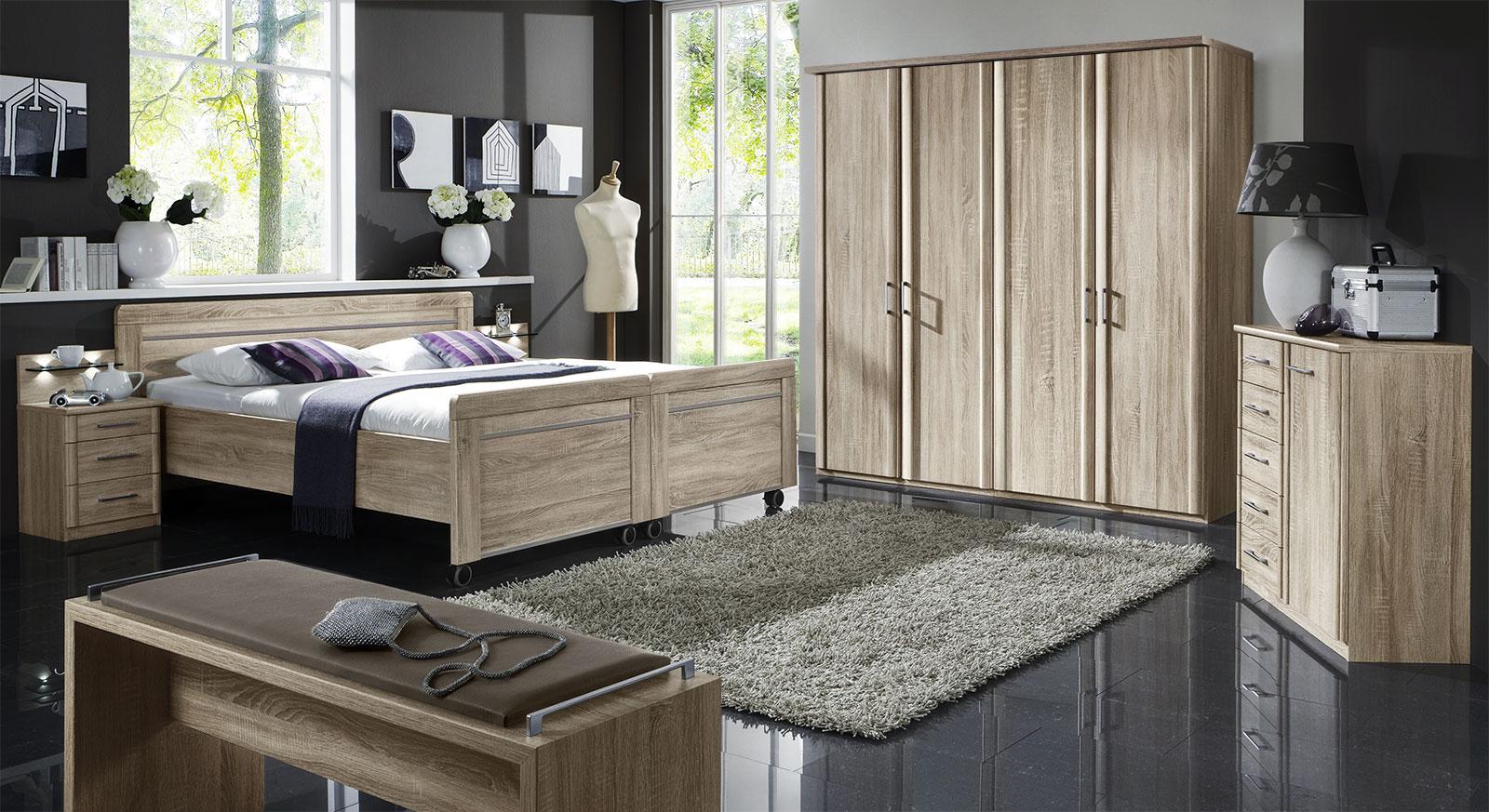 Komplett-Schlafzimmer Runcorn in Eiche sägerau