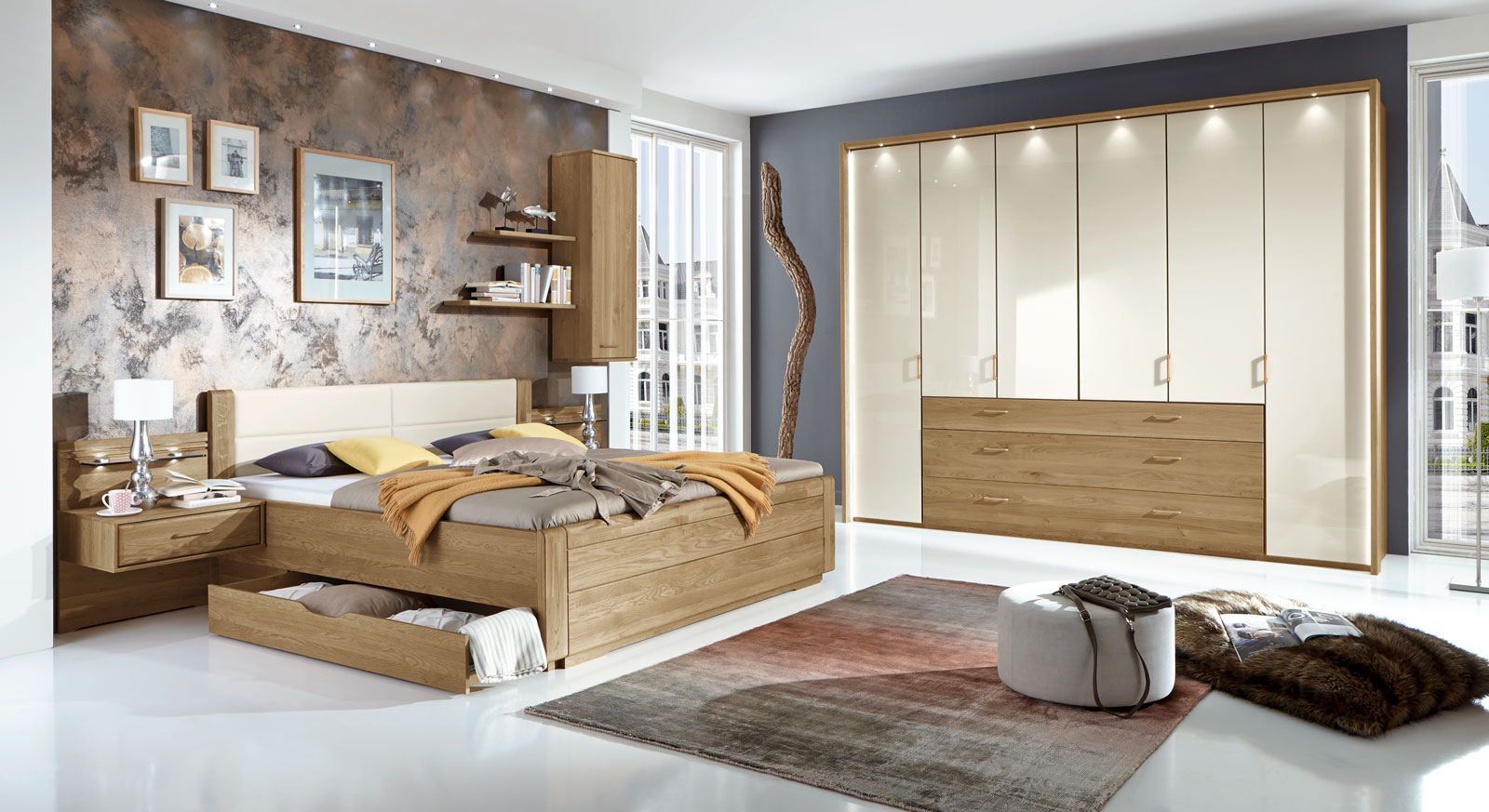 doppelbett teilmassiv in komforth he mit zwei schubladen. Black Bedroom Furniture Sets. Home Design Ideas