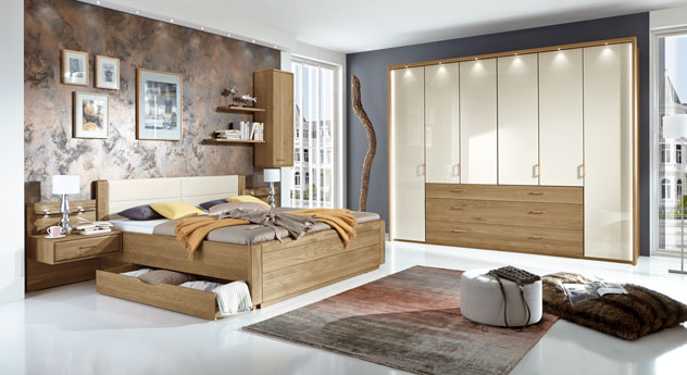 teilmassives schlafzimmer komplett mit schubkastenbett toride. Black Bedroom Furniture Sets. Home Design Ideas