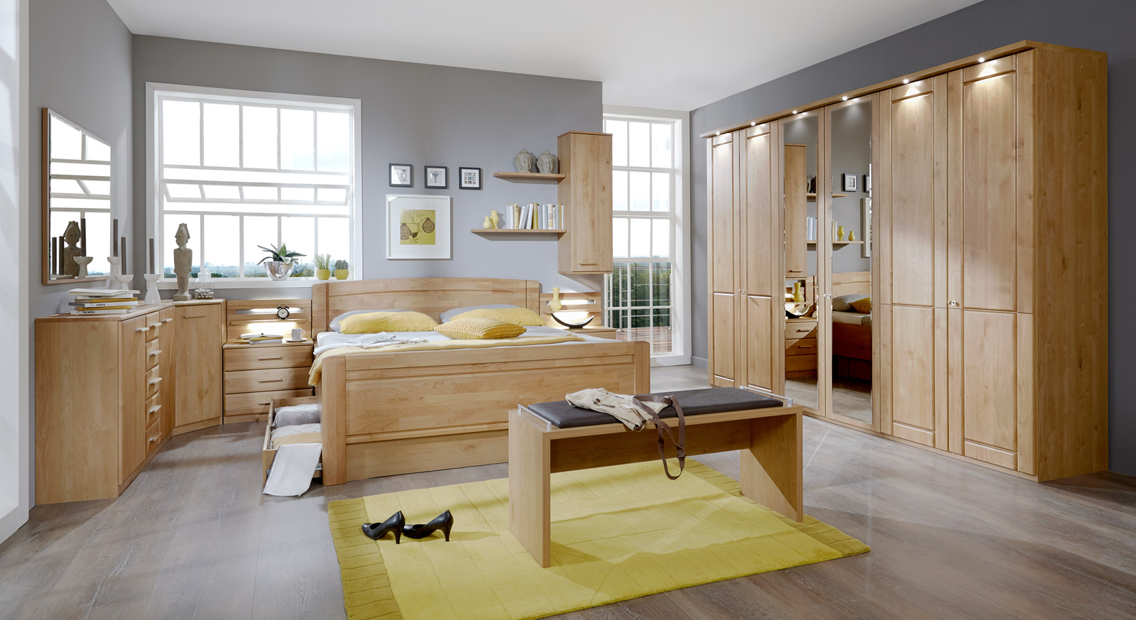h ngeschrank f r schlafzimmer optional mit regalb den trikomo. Black Bedroom Furniture Sets. Home Design Ideas