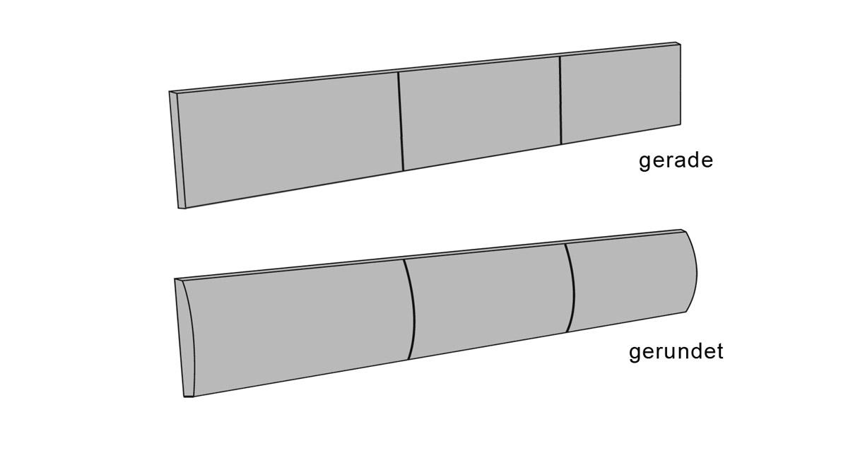 Kopfteilpolster Arezzo in zwei Varianten