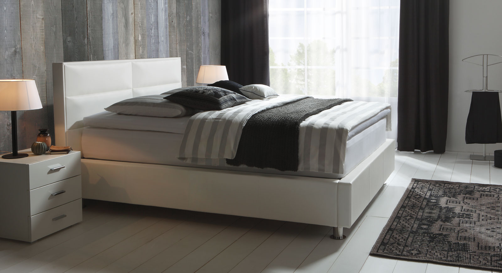 boxspringbett mit kunstleder bezug kopenhagen. Black Bedroom Furniture Sets. Home Design Ideas