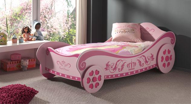 Rosafarbenes Kutschenbett Pink Heart im Prinzessinnen-Design