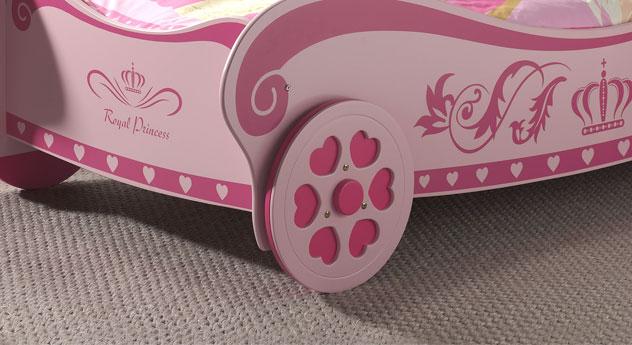 Kutschenbett Pink Heart mit Rädern mit Herz-Motiv
