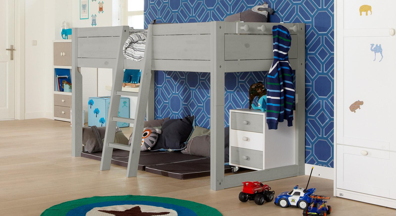 Kinderbett 4-in-1 als Hochbett hier in Grau lasiert