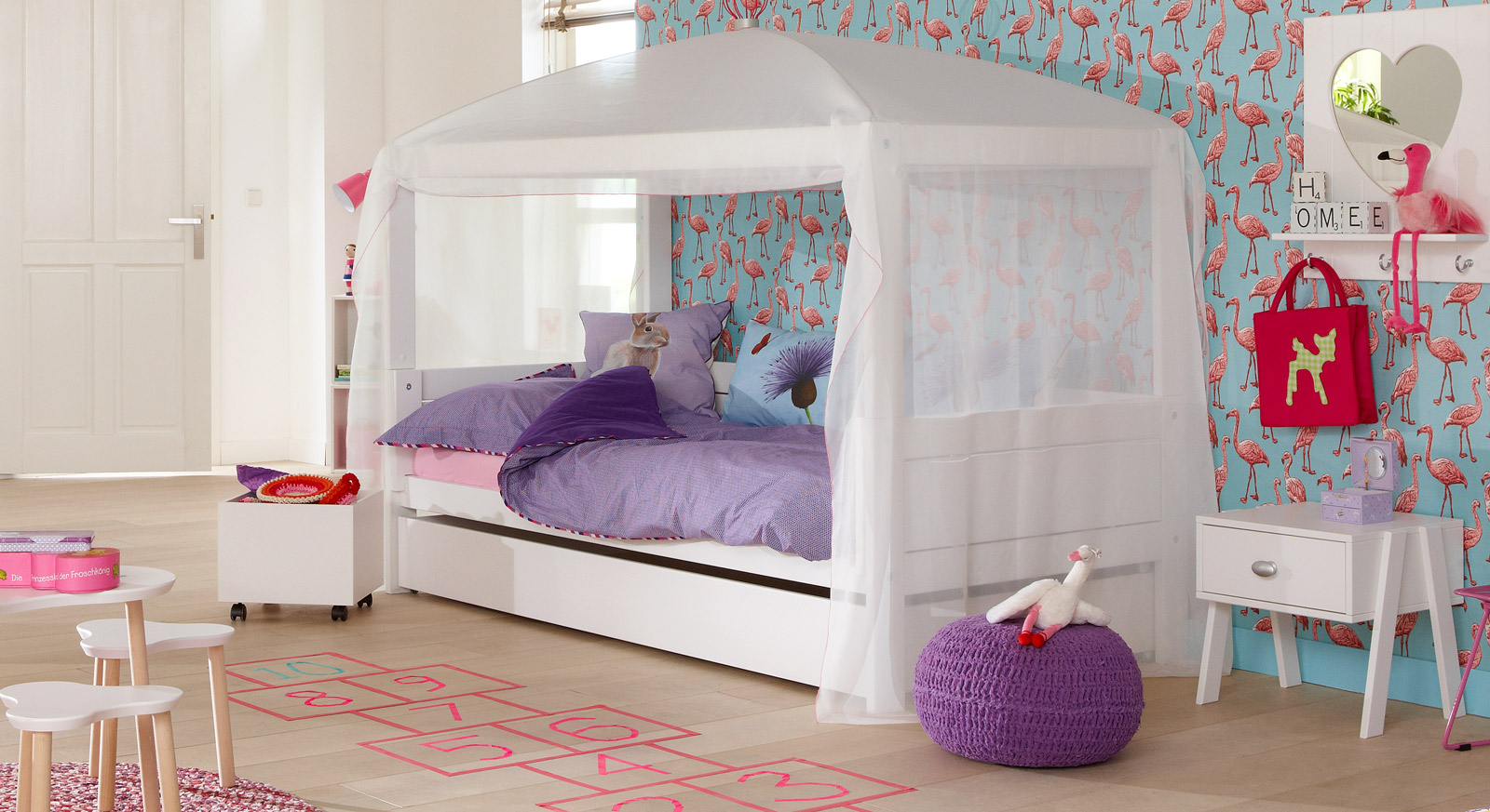 Kinderbett 4-in-1 inklusive Baldachin