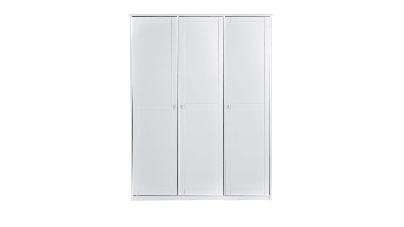 Weiß lackierter Kleiderschrank von Lifetime in 3-türiger Ausführung