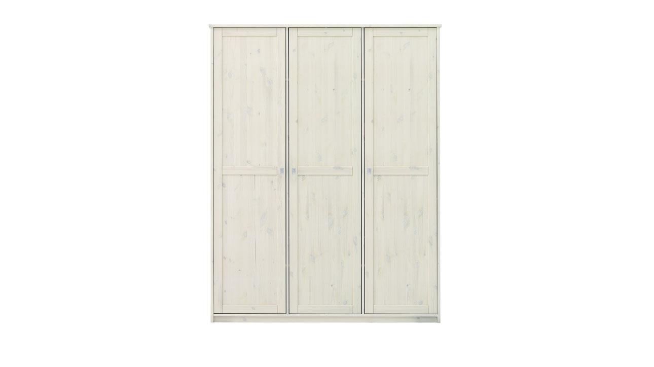 Lifetime Kleiderschrank in weiß lasiert mit 3 Türen
