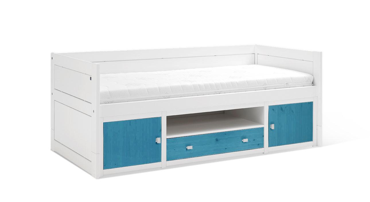 Weiß lackiertes LIFETIME Kojenbett Original mit Front in Blau
