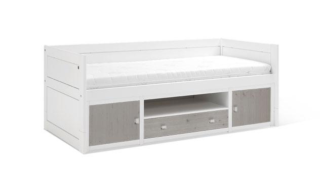 Weiß lackiertes LIFETIME Kojenbett Original mit Front in Grau