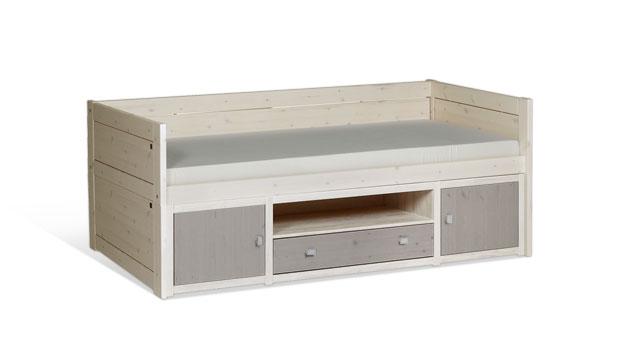 Weiß lasiertes LIFETIME Kojenbett Original mit Front in Grau