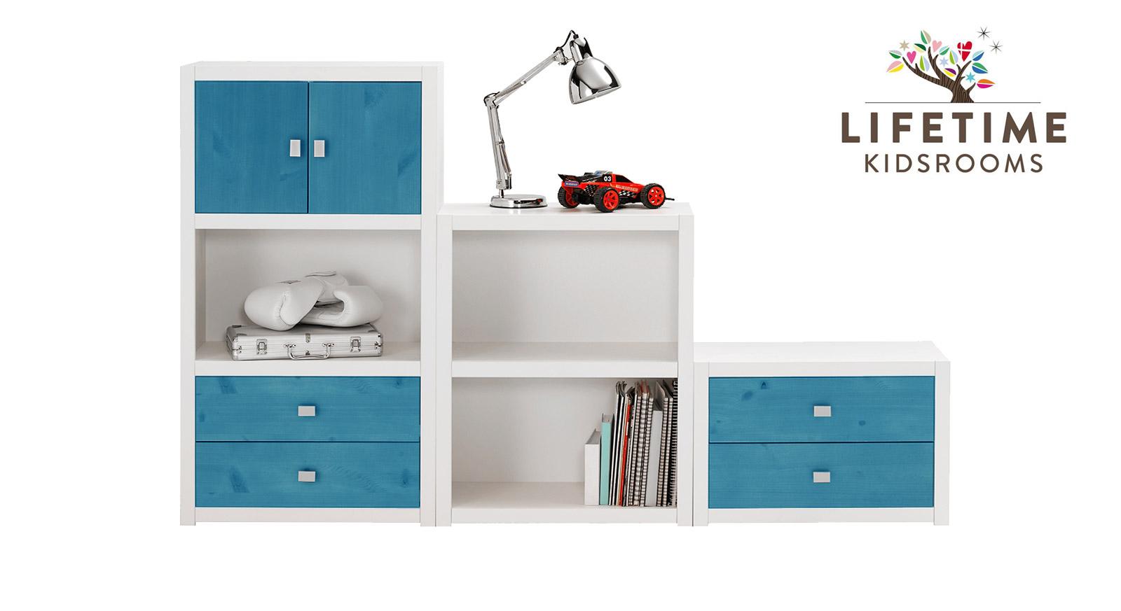 Weiß lackierte LIFETIME Regalwand Original in Größe S mit Blenden in Blau
