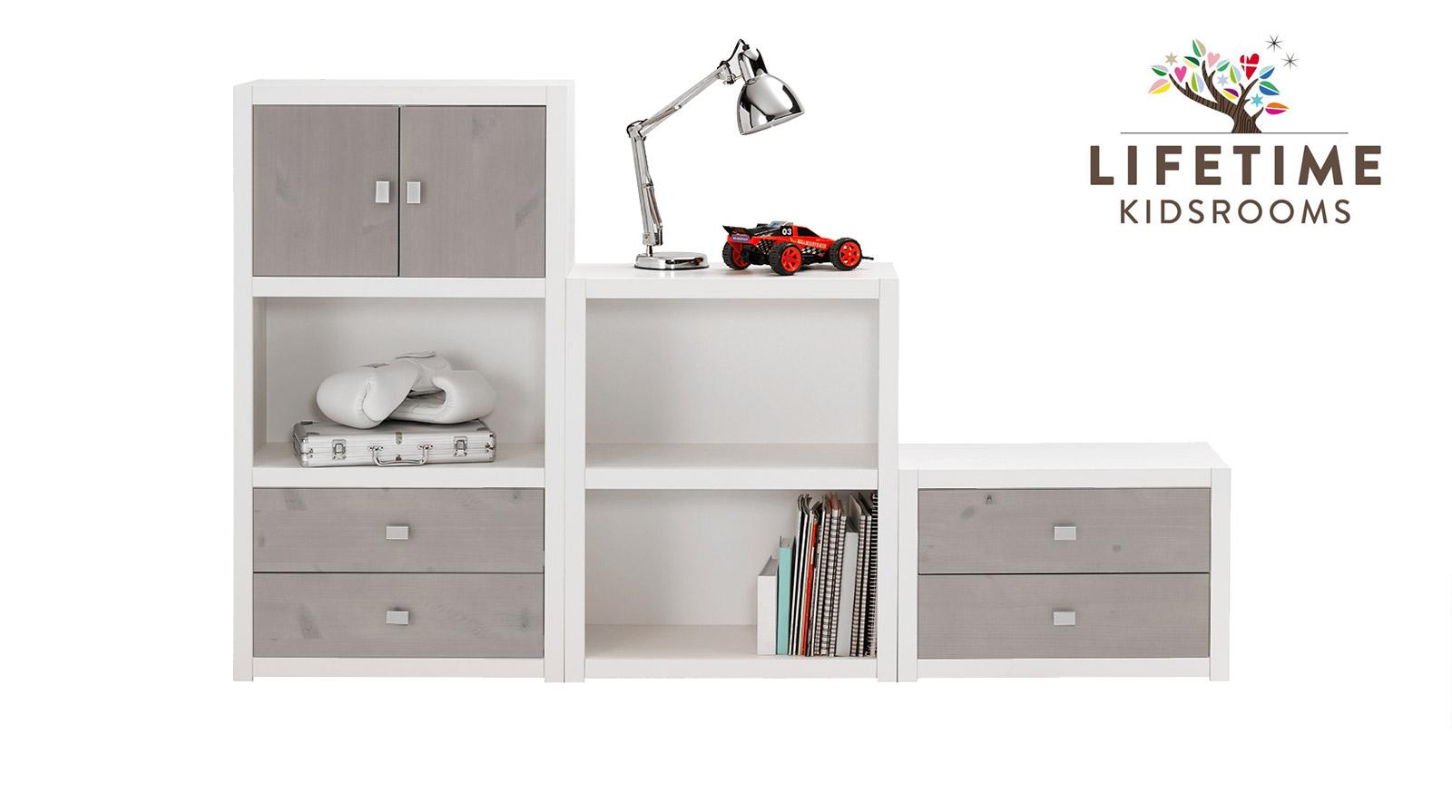 Weiß lackierte LIFETIME Regalwand Original in Größe S mit Blenden in Grau