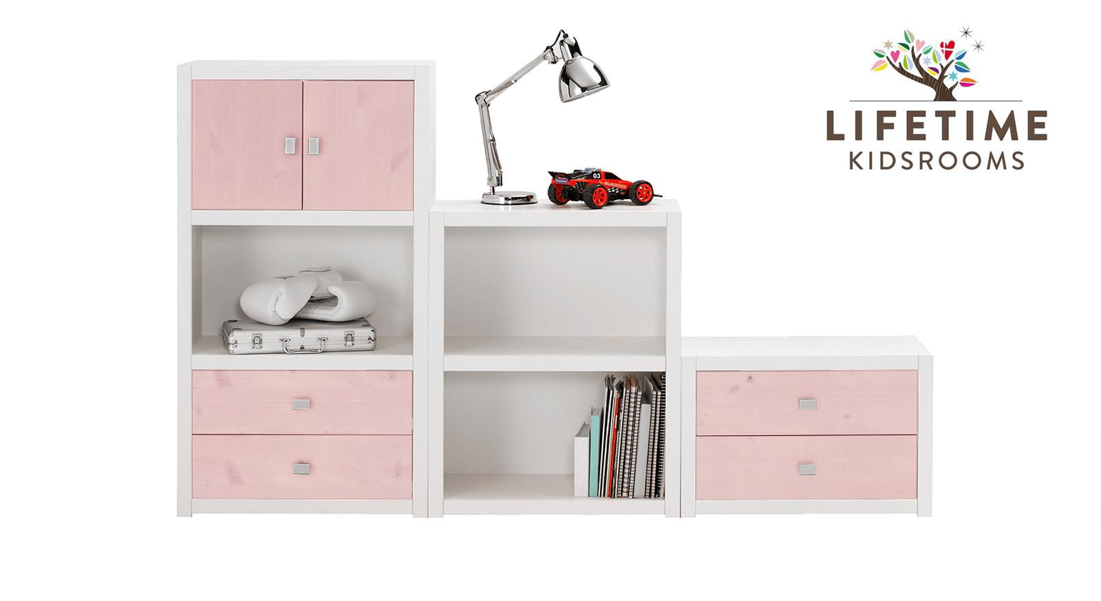 Weiß lackierte LIFETIME Regalwand Original in Größe S mit Blenden in Rosa
