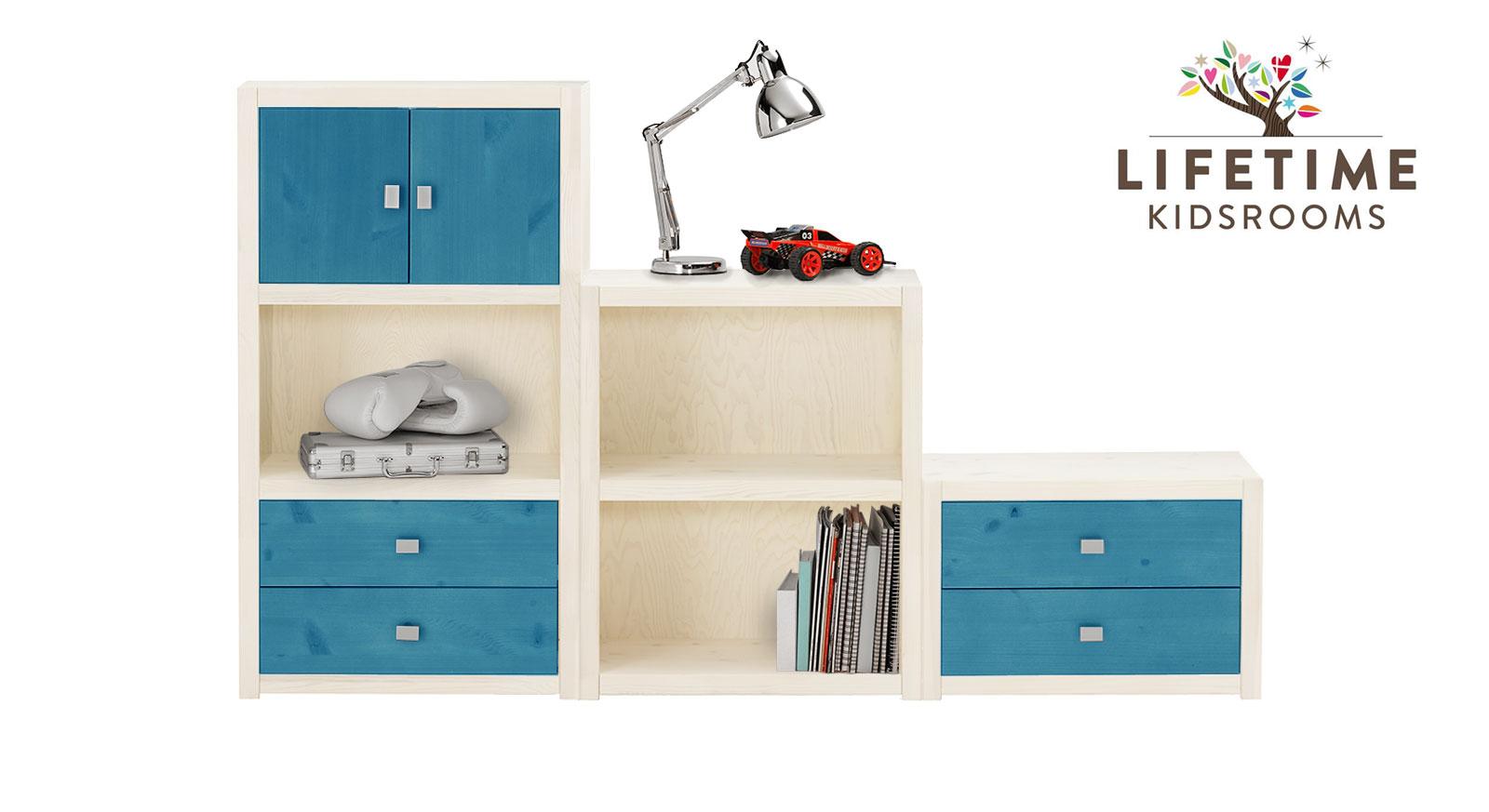 Weiß lasierte LIFETIME Regalwand Original in Größe S mit Blenden in Blau