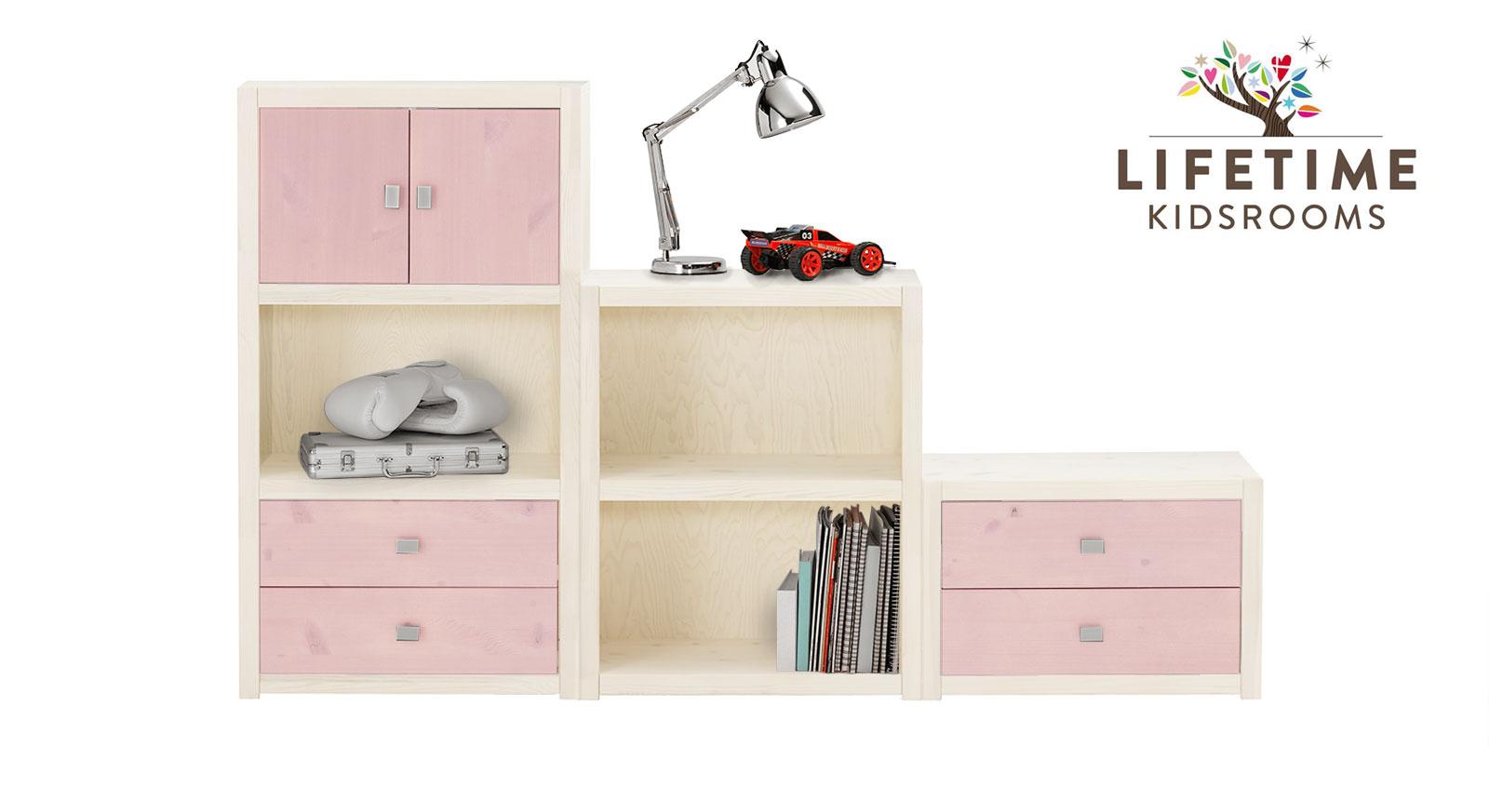 Weiß lasierte LIFETIME Regalwand Original in Größe S mit Blenden in Rosa