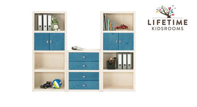 Weiß lasierte LIFETIME Regalwand Original Größe M mit Blenden in Blau
