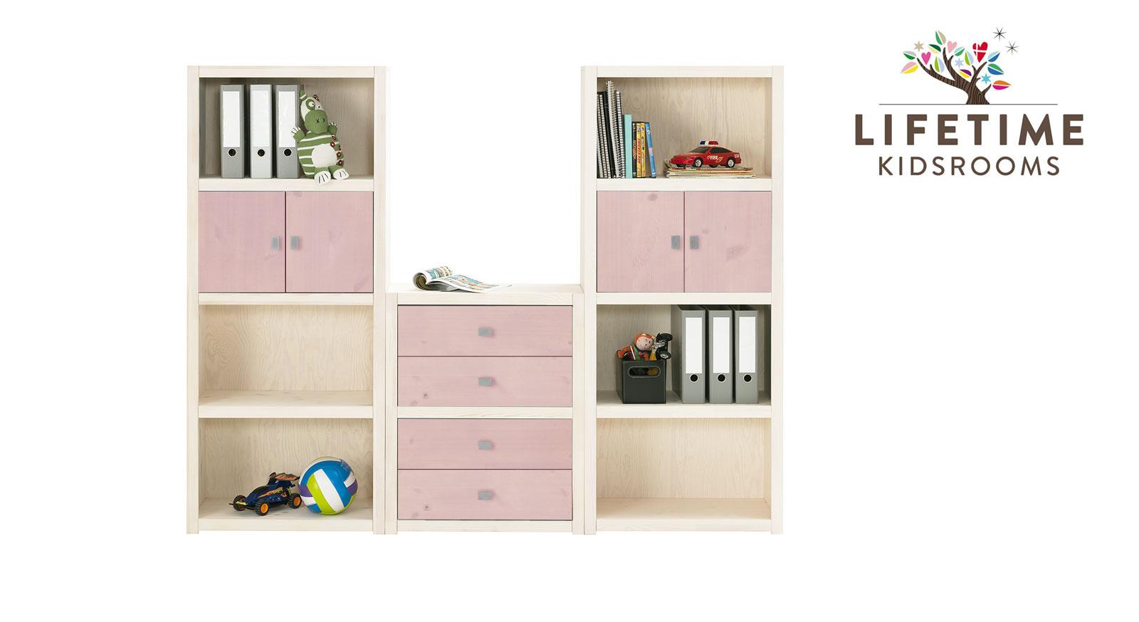 Weiß lasierte LIFETIME Regalwand Original Größe M mit Blenden in Rosa