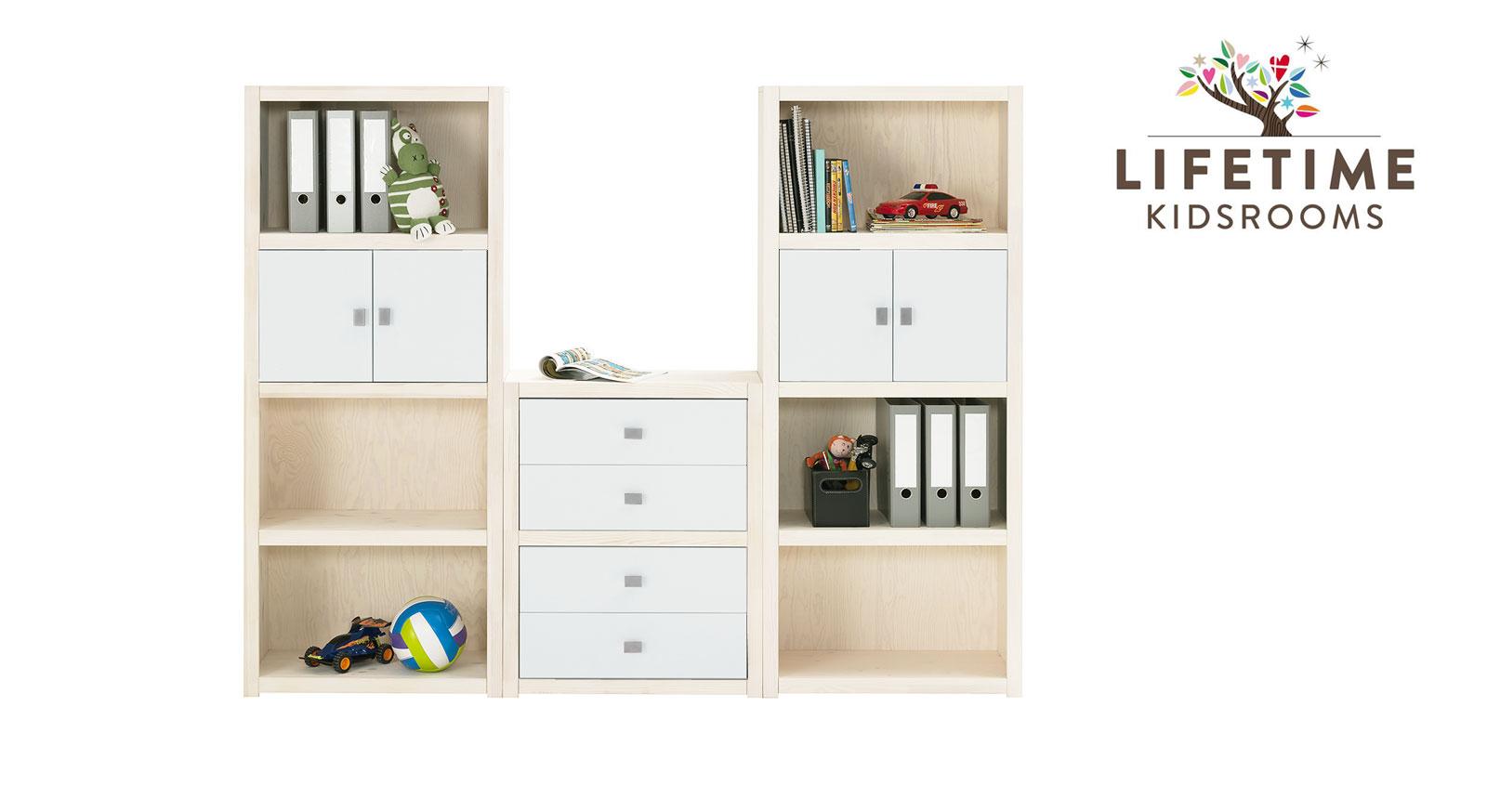 Weiß lasierte LIFETIME Regalwand Original Größe M mit lackierten Blenden