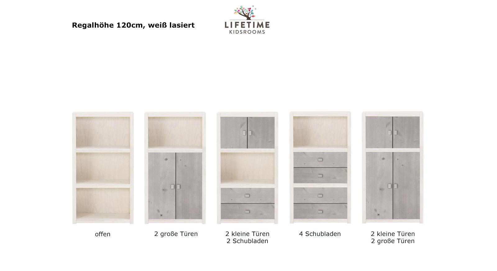 LIFETIME Regalsystem Original Hoehe 120cm weiss lasiert
