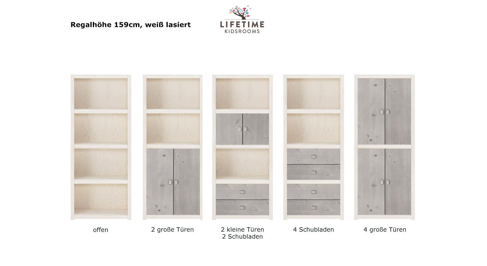 LIFETIME Regalsystem Original Hoehe 159cm weiss lasiert