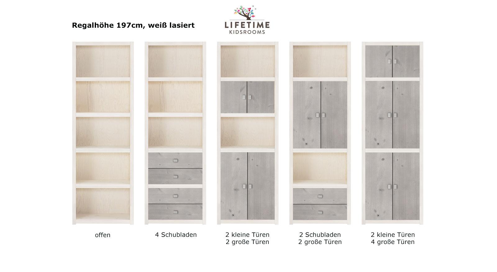 LIFETIME Regalsystem Original Hoehe 197cm weiss lasiert