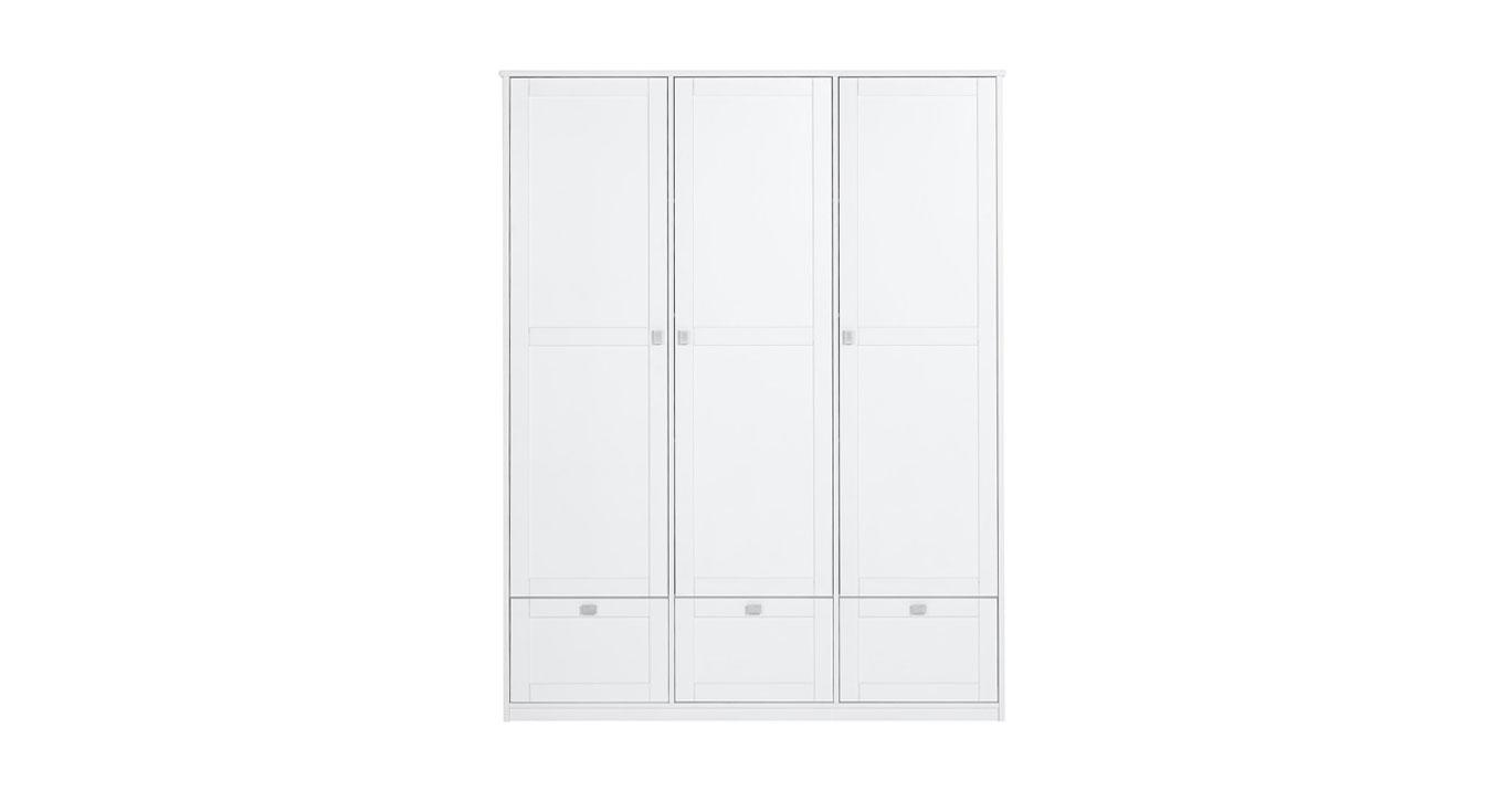 Lifetime Schubladen-Kleiderschrank in weiß lackiert mit 3 Türen