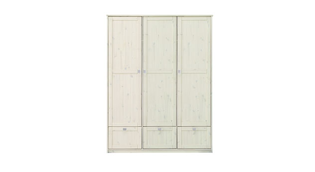 Lifetime Schubladen Kleiderschrank mit 3 Türen in weiß lasierter Ausführung
