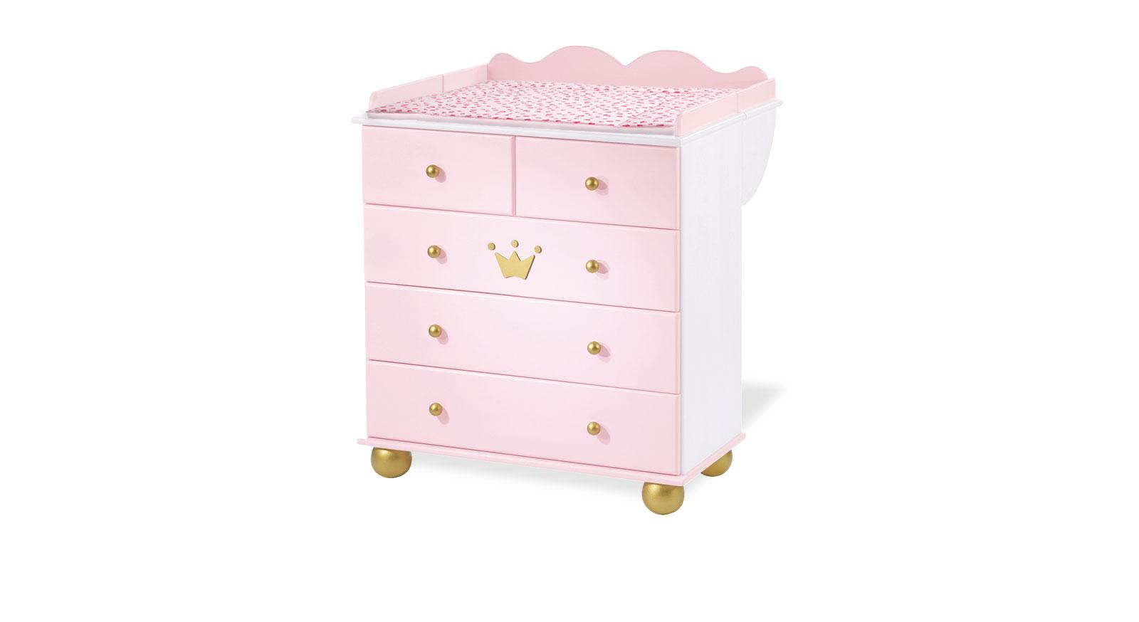 Hochwertige massive Wickelkommode Pauline weiss-rosa