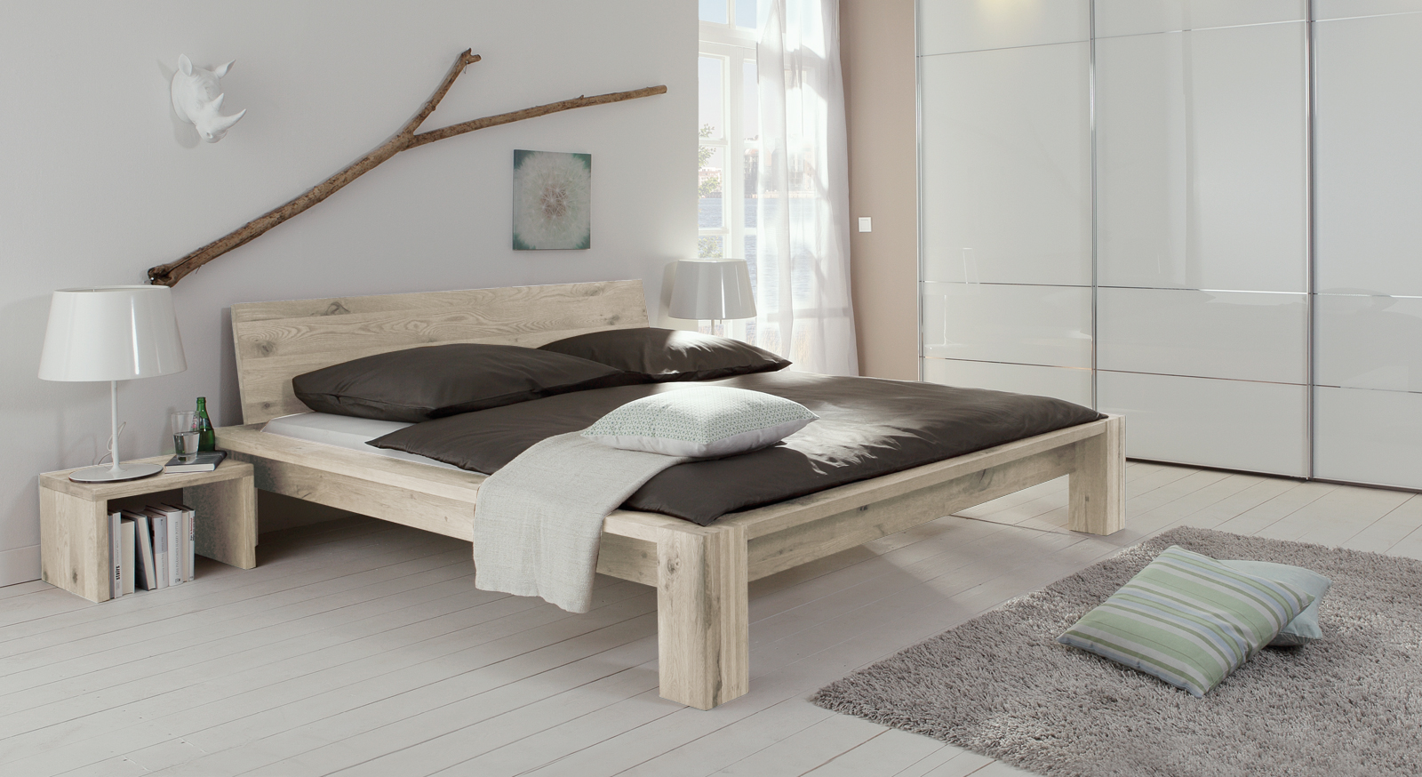 rustikales wildeiche bett massiv gebaut perugia. Black Bedroom Furniture Sets. Home Design Ideas