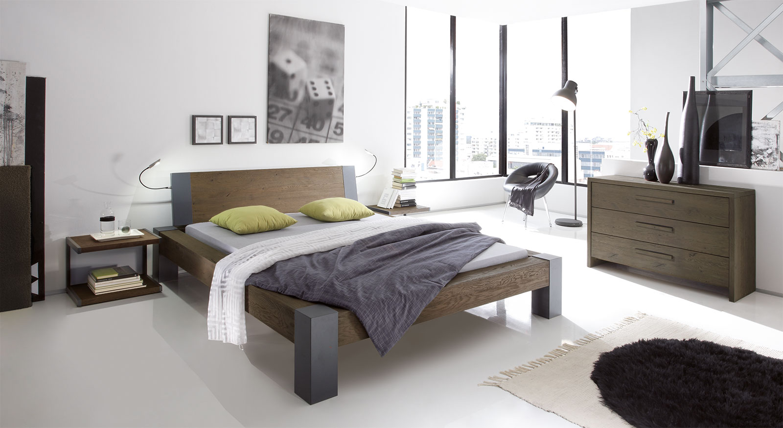bett aus wildeiche in z b 160x200 cm serio. Black Bedroom Furniture Sets. Home Design Ideas