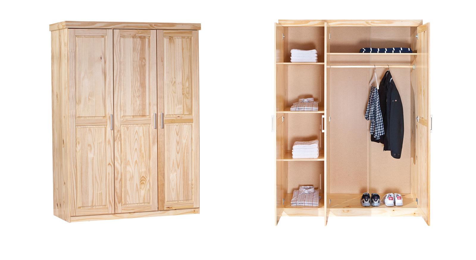 Drehtüren-Kleiderschrank aus Kiefer mit drei Türen - Graz