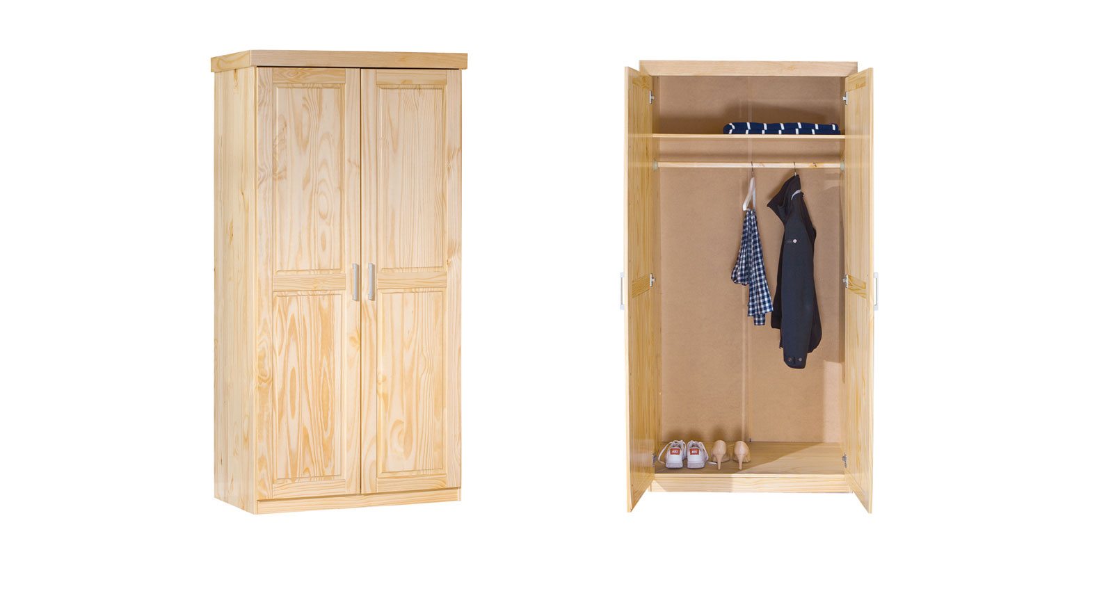 Drehtüren-Kleiderschrank 2-türig aus Massivholz - Ternitz