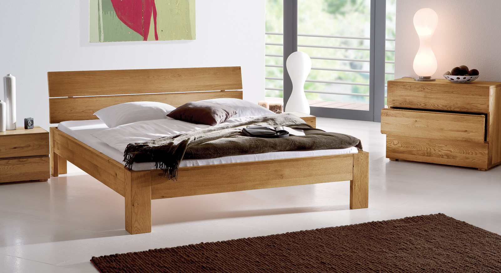 massives eichenbett naturfarben ge lt bayamo. Black Bedroom Furniture Sets. Home Design Ideas