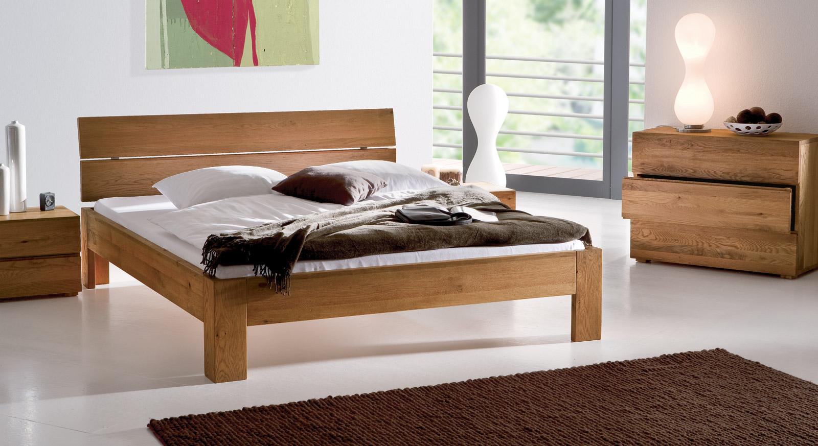 Massives eichenbett naturfarben ge lt bayamo for Betten auf ratenzahlung