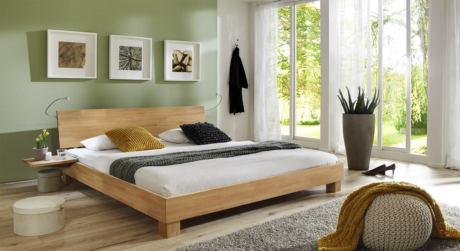 Massivholzbett Lesina aus Buche natur mit passenden Produkten