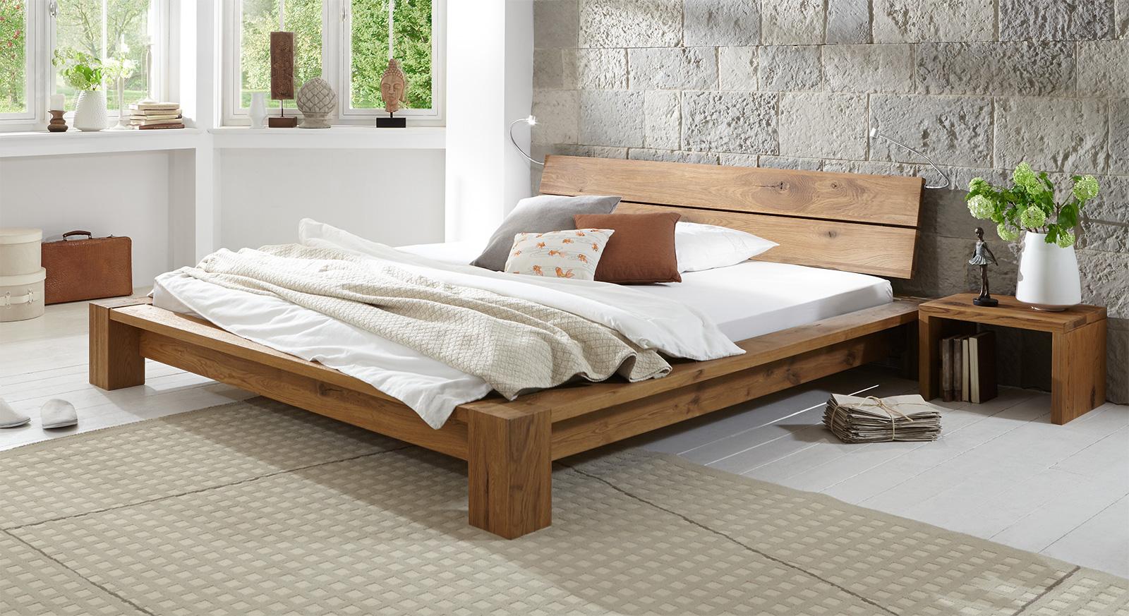 massivholzbett in komforth he aus ge lter wildeiche navia. Black Bedroom Furniture Sets. Home Design Ideas