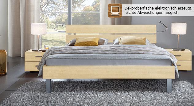 Das Bett Belluno in der Fußhöhe 20cm und aus MDF, ahorn